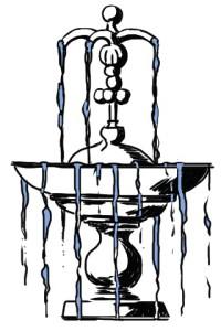 überlaufender Brunnen